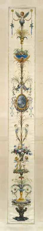 Painted Panel; Unknown; Paris, France, Europe; about 1780; Gouache on silk with gold paint; 144.8 × 17.8 cm (57 × 7 in.); 73.DH.89.3; J. Paul Getty Museum, Los Angeles, California