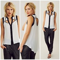 #lineanddot #white contrast binding #shirt #chic #summerBlouse Available @Planet Blue