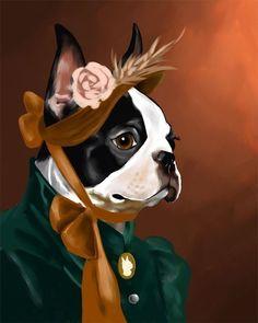 The American Lady - Boston Terrier Art Print by Brian Rubenacker, boston terrier home decor, boston terrier gift Boston Terrier Temperament, Red Boston Terriers, Boston Terrier Art, Terrier Breeds, Terrier Puppies, American Bull, American Lady, English Terrier, Boston Art