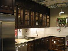 Pictures of IKEA Kitchens: Dark Wood Glass Door IKEA Kitchen Cabinets