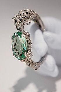 Cartier ~ Panther bracelet with green beryl.