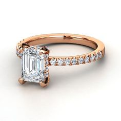 Emerald-Cut Diamond 14K Rose Gold Ring with Diamonds