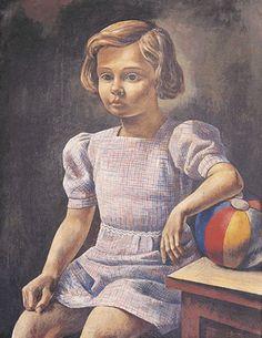 """""""La niña del balón"""" Antonio Berni 1937 Temple sobre madera. Colección de la Pinacoteca del Ministerio de Educación  y Deportes."""