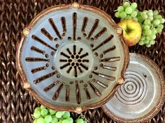 Ceramic Colander - Berry Bowl - Large Strainer - Handmade Colander Glazed in Blue with Brown and Rust Accents - Ceramic Kitchenware