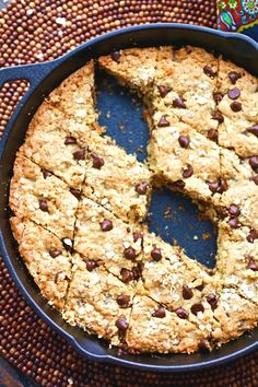 Happy Monday! How does easing into the week with a cookie sound to you? This Oatmeal-Chocolate-Chip Skillet Cookie requires no measuring of dough or even cookie sheets. Just pop the dough into a skillet, bake, and enjoy with a fork straight from the pan, if you'd like!