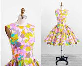 vintage 1960s dress / 60s dress / Pink and Green Floral Spring Party Dress