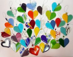 Fused Glass Heart Sun Catchers  Perfect gift for Grandma!!