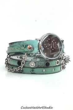 Heart Wrap Watch, Womens leather watch, Bracelet Watch, Chain Wrist Watch, Distressed Green 태양성카지노ⓑ FKFK14.CO.NR ⓑ태양성카지노 태양성카지노ⓑ FKFK14.CO.NR ⓑ태양성카지노