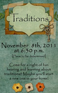 Tradtions-this would be a fun activity.