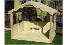 Childrens Large Timber Playhouse   Kids Wooden Play House   Bench Seat   Shelves   Suppliers UK