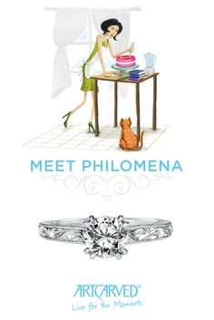 Philomena is a sentimentalist who refuses to believe chivalry is dead, but she prefers modern love stories to the classics. She found her soulmate on a blind date, and spends her spare time in the kitchen experimenting with new recipes. #ArtCarvedBridal  Click the pin to learn more about Sabrina and explore which ArtCarved Girl is perfect for you.