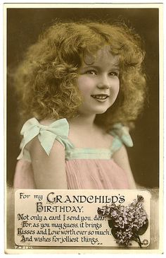 Vintage Postcard ~ Don't you just love her hair? So cute