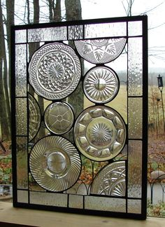 Vintage Crystal Plate panel stained glass by Barbarasstainedglass, $145.00