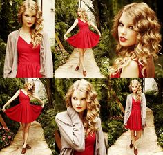 taylor swift, little red, the dress, curly hair