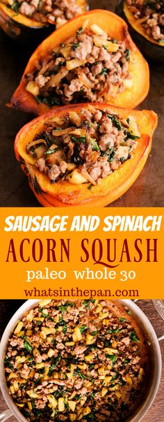 Sausage and Spinach Stuffed Acorn Squash is the best stuffed squash recipe! Sausage and Spinach Stuffed Acorn Squash is the best stuffed squash recipe! Paleo Whole 30, Whole 30 Recipes, Pork Recipes, Paleo Recipes, Real Food Recipes, Cooking Recipes, Lunch Recipes, Healthy Sausage Recipes, Air Fryer Recipes Paleo