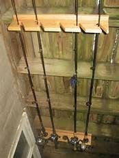 Fishing Rods Medium Heavy Fishing Rod Racks For Home Diy Fishing Rod Holder, Fishing Pole Storage, Kayak Storage Rack, Garage Storage, Fishing Poles, Garage Organization, Kayak Fishing, Organizing, Wood Wine Racks