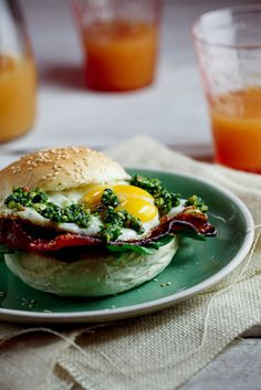 Bacon & Egg rolls with chilli & almond pesto #recipes #breakfast