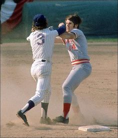 Pete Rose and Second Baseman Bud Harrelson of the NY Mets square off in game three of the 1973 NL Championship Series after Rose aggressively slid into second base to break up a double play.