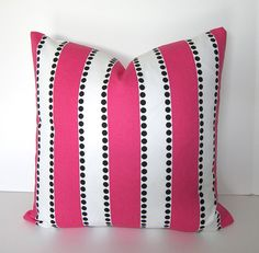 Pink and White with Black Dots - Decorative Designer Pillow - Premier Prints  - 18x18 inches