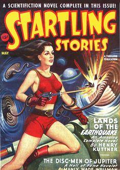 Startling Stories (1946-Spring) - The Disc-Men of Jupiter - Pulp Fiction Cover, Earle Bergey (1901-1952)