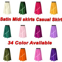 This is Satin Midi Skirt. This Skirt is made Satin fabric And Waist Elastic. Waist is Elastic Waist SO You can wear easily. This Item has a stretch band so that it would fit any waist from To Midi Skirt Casual, Casual Skirts, Midi Skirts, Satin Midi Skirt, Satin Shorts, How To Iron Clothes, Beach Skirt, Formal Skirt, Crop Top Sweater