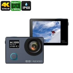 Preorder Elephone REXSO Explorer Action Camera - Night Vision, Sony IMAX Sensor, Dual-Display, Picture (Grey) - The Elephone REXSO Explorer is a compact sports action camera that lets you shoot breathtaking footage and images. Hd Vision, Night Vision, Electronics Gadgets, Tech Gadgets, Motorcycle Helmet Camera, Best Online Clothing Stores, Sony, Sports Camera, Picture Video