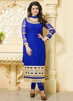 Ayesha Takia Blue Embroidered Churidar Suit