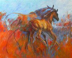 """paarden in olieverf """"Stoer""""120 x 100"""