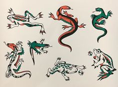 Traditional Tattoo Reference, Traditional Flash, Traditional Tattoo Flash, Vintage Tattoo Design, Ma Tattoo, Lizard Tattoo, Tattoo Flash Sheet, Frog Tattoos, Vintage Flash