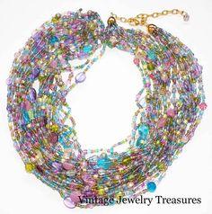 "Joan Rivers Pastel Czech Glass Torsade 36"" Necklace New in Box QVC ESTATE #JoanRivers #Torsade"