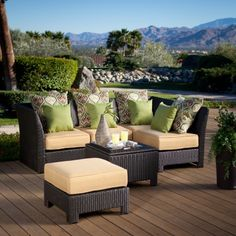 Fiji Bay All-Weather Wicker Sectional Conversation Set - Seats 4 - Wicker Furniture at Hayneedle