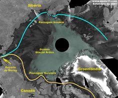 declínio da camada de gelo ampliará a Passagem Noroeste, que corta o Estreito de Bering, Mar de Chukch, Mar de Beaufort até chegar aos arquipélagos .