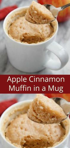 5 Min Apple Cinnamon Muffin in a Mug Recipe. Easy recipes like this are great as. 5 Min Apple Cinnamon Muffin in a Mug Recipe. Easy recipes like this are great as many people have k Easy Desserts, Delicious Desserts, Dessert Recipes, Yummy Food, Keto Desserts, Apple Cinnamon Muffins, Cinnamon Apples, Pain Keto, Muffin In A Mug