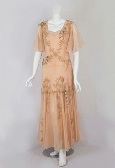 1930s tea dress | vintage 30s dress | peach chiffon with gold embroidered details | vintage fashion style