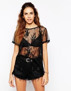 Glamorous+Oversize+T-Shirt+in+Sheer+Lace+with+Scallop+hem