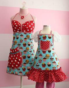 Mother/Daughter+Cupcake+Aprons++Matching+Apron+Set+by+KitchenGlam,+$55.00