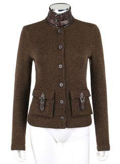 RALPH LAUREN Black Label Olive Brown Cashmere Leather Cardigan Sweater Jacket S #RalphLauren #Cardigan