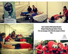 Heart Racers at the Auckland Marathon - have a post race massage care of Wellpark College Massage Students. Diploma Courses, Massage Therapy, Student Work, Auckland, College Life, Marathon, Students, Racing, Community
