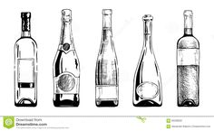 wine-bottle champagne bottles-ink-hand-draw #Style (Bottle Drawing)
