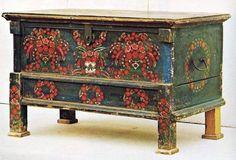 Szegedi menyasszonyi ládika, - Bridal chest from Szeged Hand Painted Furniture, Repurposed Furniture, Unique Furniture, Decoration, Art Decor, Home Decor, Decorative Objects, Decorative Boxes, Bohemian Furniture