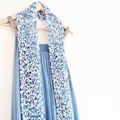 Delicate lacy scarf Baby blue Scarf Blue Knitted by OnePurlRow