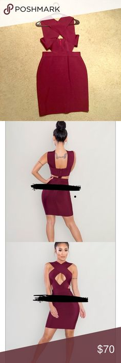 Burgundy bandage dress Bandage dress, burgundy with crossover front and back zipper. Dresses Mini
