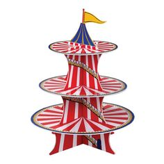 """The brightest and most colorful way to display your delicious cupcakes!!  Perfect for a circus birthday party.  Holds approx 12 -15 medium size cupcakes.  Tier size dimensions: Top tier 8"""", middle tier 10"""" and bottom tier 12"""" approximately."""