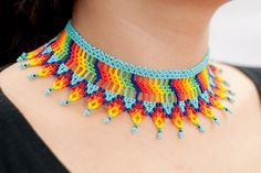 Hand made Mexican Huichol bead jewellery, earrings, bracelets, necklaces and more. Custom designs welcome. Beaded Necklace Patterns, Bracelet Patterns, Crochet Necklace, Beaded Necklaces, Triangular Pattern, Weekend Crafts, Kids Bracelets, Mexican Designs, Earring Tutorial