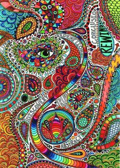 Psychedelic art is something which needs to be looked deep into, otherwise its just an art with colors and objects. Psychedelic Art, Psychedelic Pattern, Zen Doodle, Doodle Art, Zentangle Patterns, Zentangles, Art Conceptual, What's My Favorite Color, Psy Art