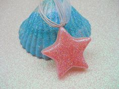 Pink Sparkle Star Necklace Girl's Glitter by BeachHouseTreasures