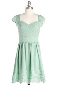 Let's Reminisce Dress in Sage - Mint, Solid, Wedding, Daytime Party, Graduation, Bridesmaid, Pastel, A-line, Cap Sleeves, Spring, Sweetheart...