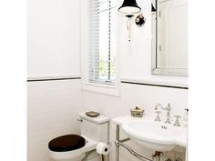 Bathrooms - JENNIFER PACCA INTERIORS  #interiordesign #homedecor #design #decor   #goals #architecture #inspiration #interior #bathroom #masterbathroom  #tiles #inspo #blackandwhite #sconce #pedestalsink #bathroomremodel #bathroomdesign #realestate #remodeling