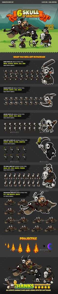 6 Skulls 6 Skull Characters Sprite Set  Clean, fresh and color full Game Characters. This characters is suitable for enemy army on your game. Every assets is build with vector software and animated with Spriter, to edit the character you can open in Adobe Illustrator or software who support with AI, EPS, and PNG file format. All PNG files was separated files and transparent background. to edit the animations you can open it with Spriter software.