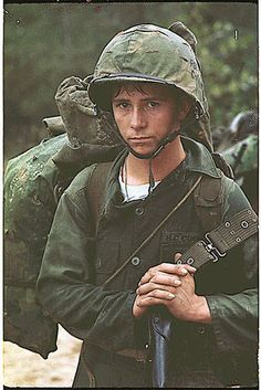 Vietnam War Picture - Young Marine Private Waiting on a Beach